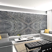 Bookmatched natural quartzite slab on a feature wall in a living room.