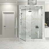 Spacious bathroom with walk-in glass front shower. Floors, walls, and shower covered in large-formet porcelain slab.