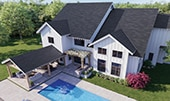 Aerial perspective of home with slate-look porcelain tile roofing.