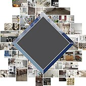 Collage of an assortment of room scenes with tile representing the Daltile Builder Studio program.